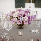 Pink Lavender and Blue Reception Arrangement in Copper Vase