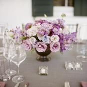 Pink Lavender and Blue Reception Arrangement in Copper Vase
