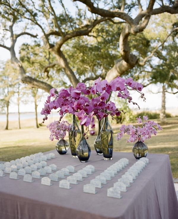 Purple Escort Card Table