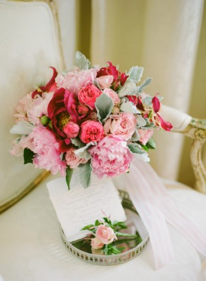 Pink Rose and Dusty Miller Bouquet
