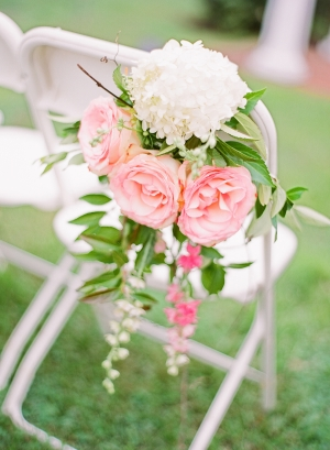 Pink Rose Ceremony Aisle Decor