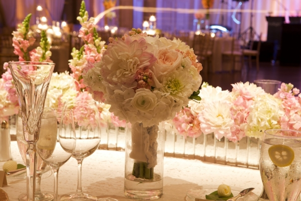 Pink and Cream Floral Reception Decor