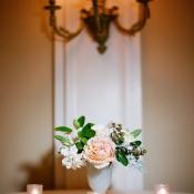 Pink and Cream Flowers in Milk Vase