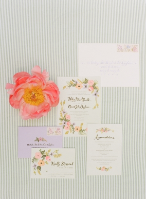 Pink and Green Garden Theme Watercolor Wedding Stationery