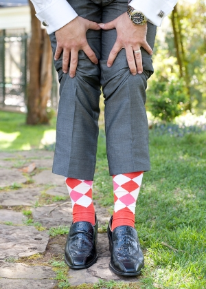 Pink and Red Argyle Grooms Socks