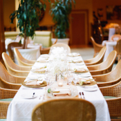 Reception Table With Cane Wicker Armchairs