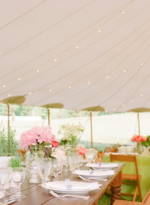 Reception Tent With Pink and Green Decor