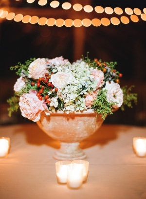 Rose and Hydrangea Arrangement in Urn