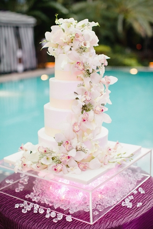 Cake with Cascading Orchids