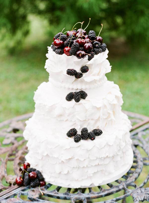 Ruffled Wedding Cake With Berries and Cherries
