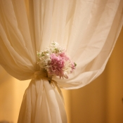Sheer Curtain Tied With Pink and White Florals