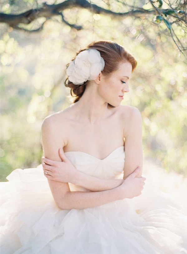 Sheer Flower Bridal Hairpiece