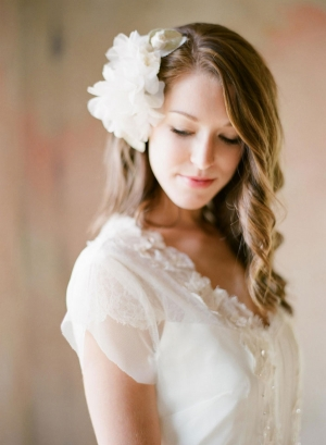 Sheer Flower Clip Bridal Hair Ideas