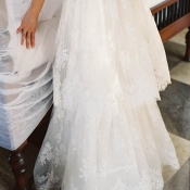 Sheer Tiered Lace Wedding Gown Skirt