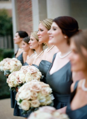 Short Dark Teal Gray Bridesmaids Dresses