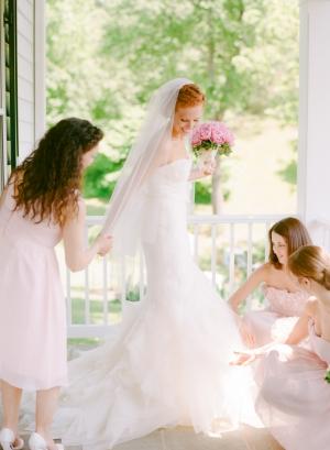 Short Pale Pink Bridesmaids Dresses
