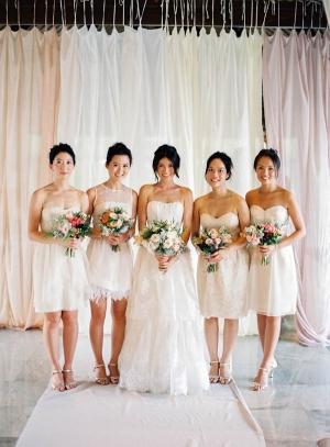 Short White Bridesmaids Dresses 1
