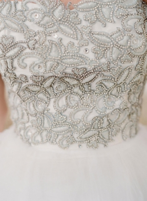 Silver Beaded Bodice Wedding Gown