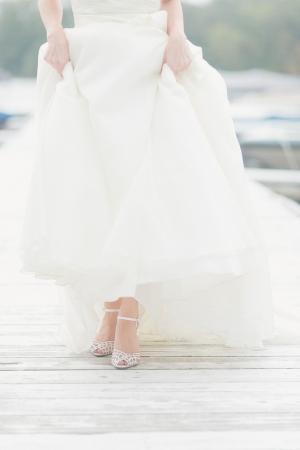 Silver Braided Peep Toe Bridal Shoes
