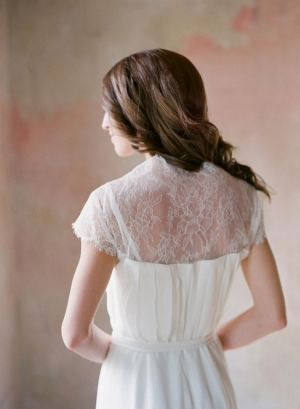 Simple Gathered Column Style Wedding Gown With Sheer Lace Back