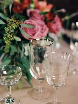 Simple Glass Stemware on Reception Table