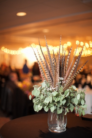 Simple Reception Arrangement With Feathers
