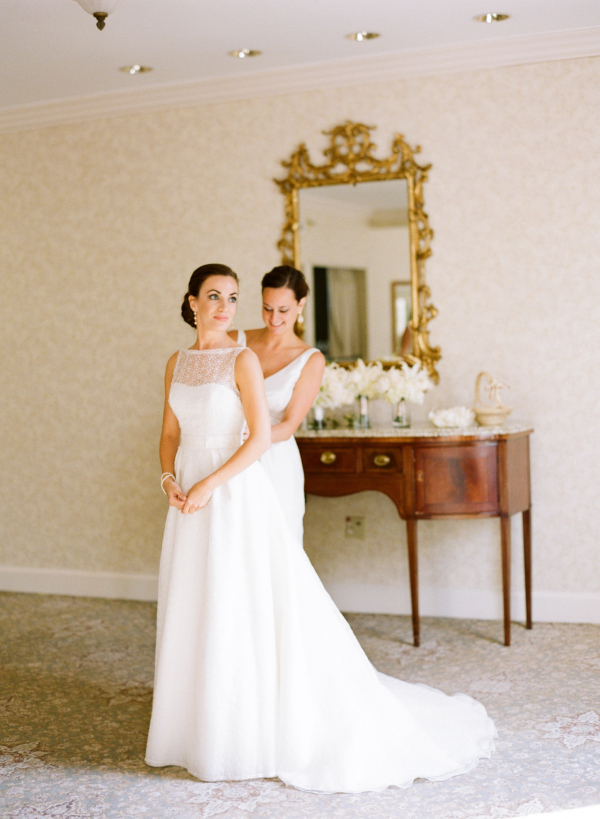 Sleeveless Wedding Gown With Embroidered Top