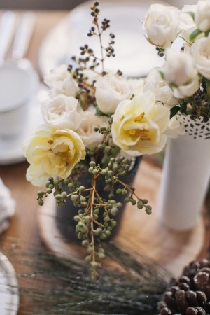 Soft Yellow and Gray Winter Tabletop