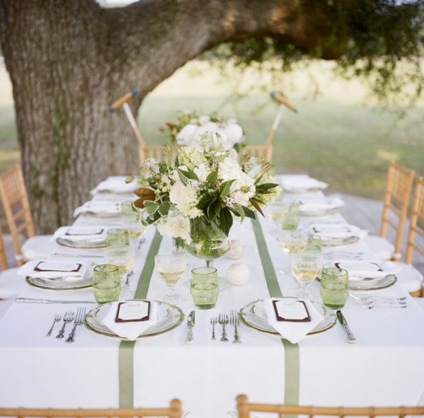 Preppy Green and White Tablescape