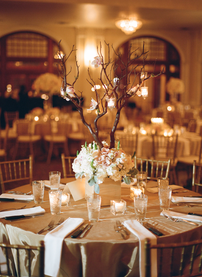 Square floral reception centerpiece with tall branches for Tall wedding centerpieces with branches