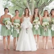 Strapless Mint Green Bridesmaids Dresses