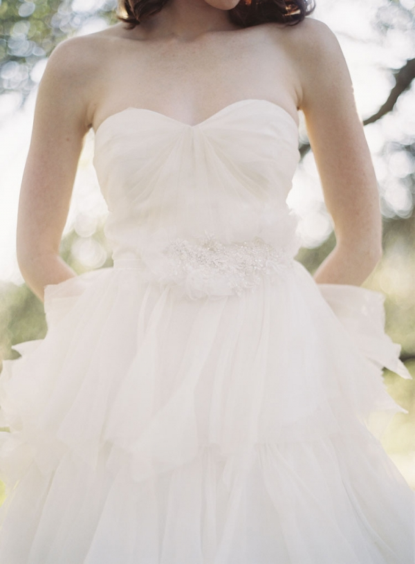 Strapless Tulle Bridal Gown With Jeweled Waistband