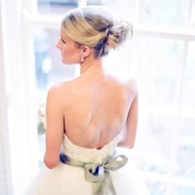 Strapless Wedding Gown With Green Satin Sash