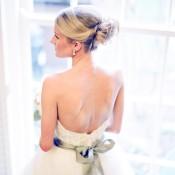 Strapless Wedding Gown With Green Satin Sash