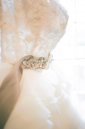 Strapless Wedding Gown With Green Satin Sash and Jewel Detail 1
