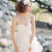 Strapless Wedding Gown With Ruffled Tulle Skirt