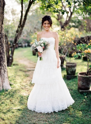 Strapless Wedding Gown With Tiered Lace Skirt