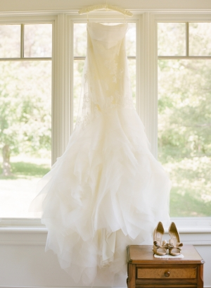 Strapless Wedding Gown With Uneven Ruffled Skirt