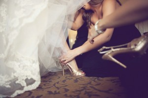 Strappy Gold Glitter Bridal Shoes