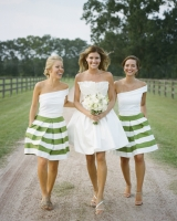 Preppy Striped Green Bridesmaids Skirts