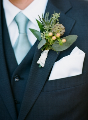 Succulent Boutonniere With Lace