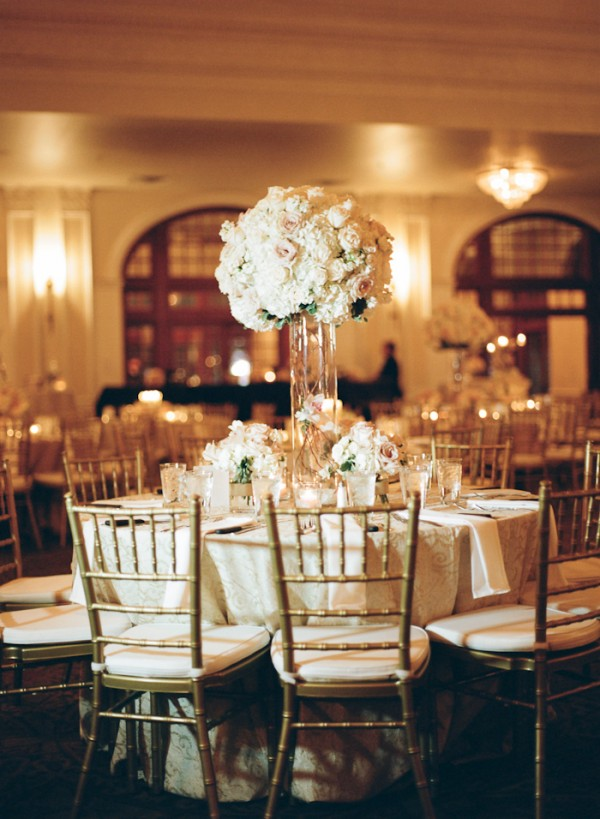 Tall Hydrangea and Rose Reception Table Centerpiece