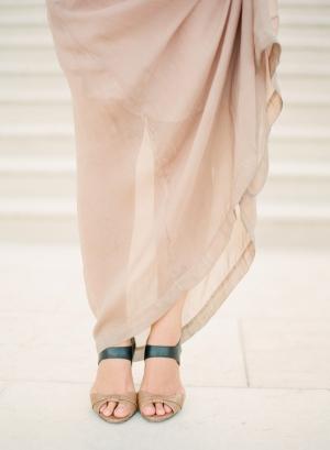 Taupe and Black Peep Toe Sandals