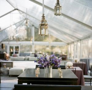 Tent Reception Decor With Hanging Lanterns