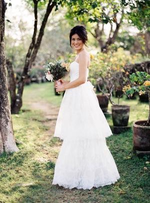 Tiered Carolina Herrera Gown