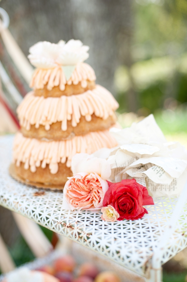 Tiered Pound Cake With Looped Peach Icing