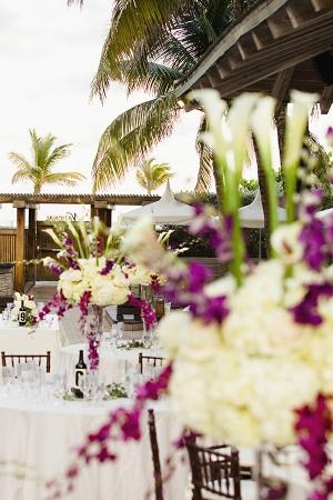 Tropical Purple and White Outdoor Miami Reception Decor