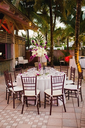 Tropical Purple and White Outdoor Reception Decor