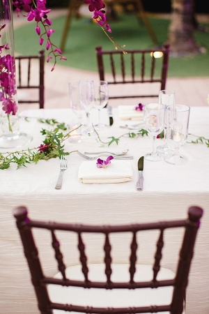 Tropical Purple and White Outdoor Reception Table Decor