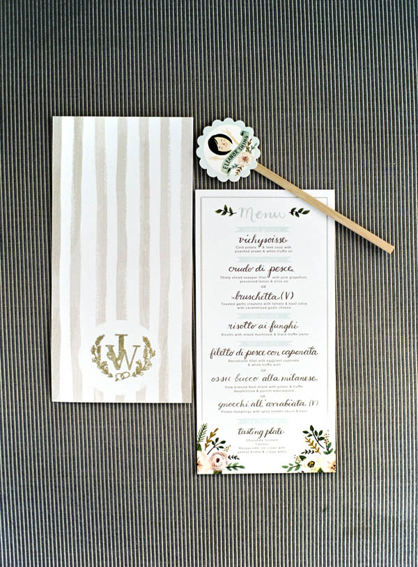 Tropical Watercolor Reception Menu Card